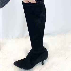 Stuart Weitzman Black Suede Knee High Kitten Heels